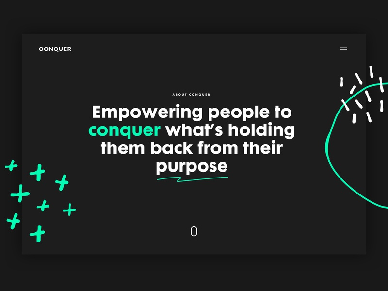 About Conquer ux creative typography design ui brand