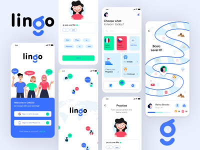 Lingo - Language Learning App language app branding learning app laguage learning app screens app ui mobile app