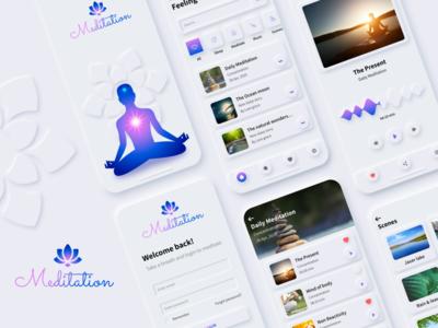Meditation app promotion branding design app screen app ui mobile app ui mobile app meditation app meditation