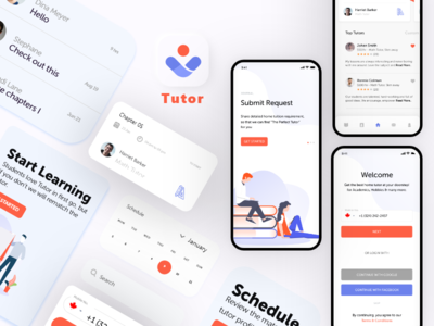 Tutor elearning education learning tutor app icon typography vector branding ui logo design