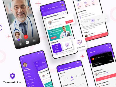Telemedicine App app screnns app ui mobile app online doctor telemedicine apps telehealth telemedicine