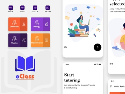 eClass icon branding app screens app ui design mobile apps educational school tutor elearning learning education
