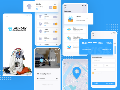 Laundry App dry cleaniing ui kit promotion app screens branding design ui mobile app laundry app laundry