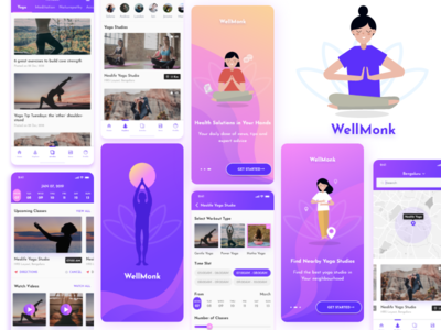 Well Monk meditation icon ui branding design yoga app app ui app screens meditation mobile app meditation app