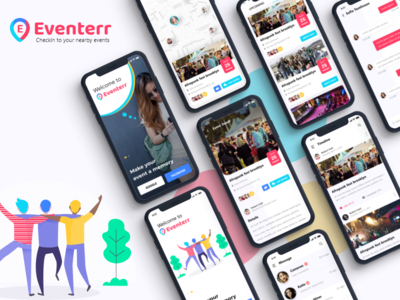 Eventerr event apps promotion branding event app ui design event scheduler app ui app screens mobile app event