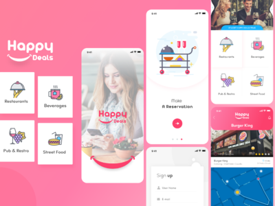 Happy Deals creative ui design promotion branding restaurant app ui restaurant booking app app ui app screens mobile app