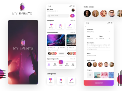 Events event app app screens ui promotion branding design app screens app ui mobile app events