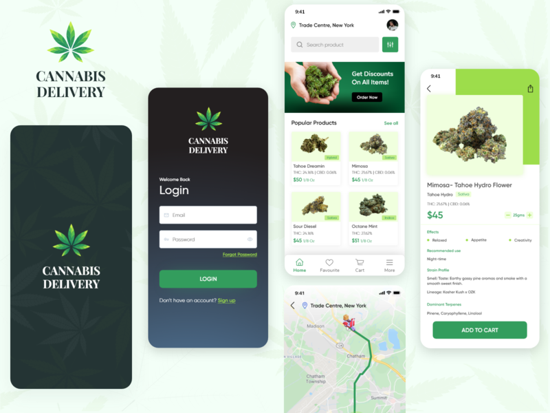 Cannabis Delivery marijuana app screen app promotion app ui design ui mobile app branding cannabis