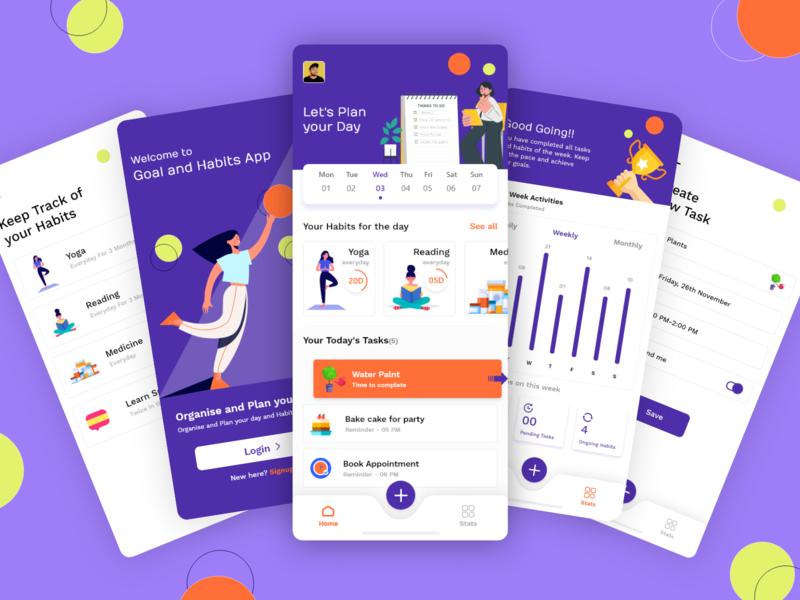 Habbit-Buddy scheduler promotion app design app screens app screen app app ui design ui mobile app branding