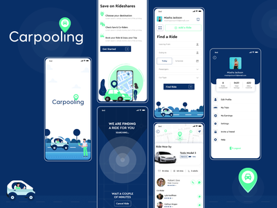 Carpooling App branding designer cab booking car sharing carpooling app design app screens app screen app ui ui mobile app