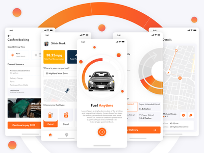 On-demand Fuel Delivery on demand delivery app on-demand app on-demand fuel app screens app design app screen app promotion app ui design ui branding mobile app