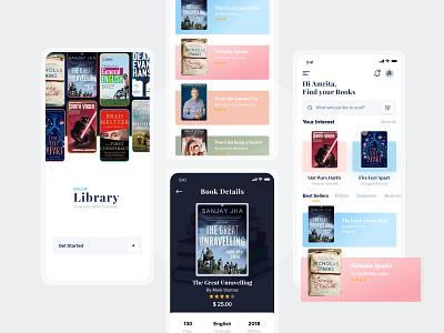 Online Library App online library library app library app screens app design app ui ui mobile app branding