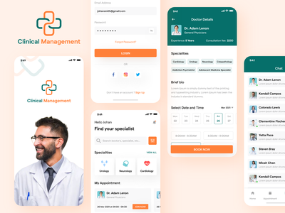 Clinical Management App health promotion design app ui branding app design app screen ui design app ui mobile app app screens clinic management clinic