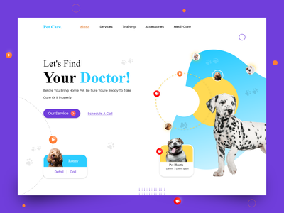 Pet Care landing page concept landing page ui landing page design pet care website pet care landing page promotion design branding