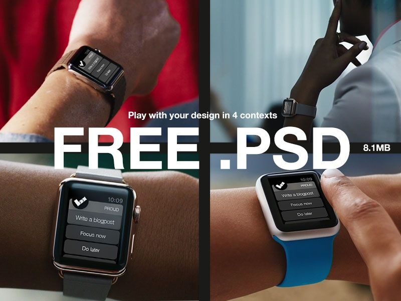 Free .PSD - 4x  WATCH Mockups applewatch mockups psd free uix ui productivity proud productive app download downloadable
