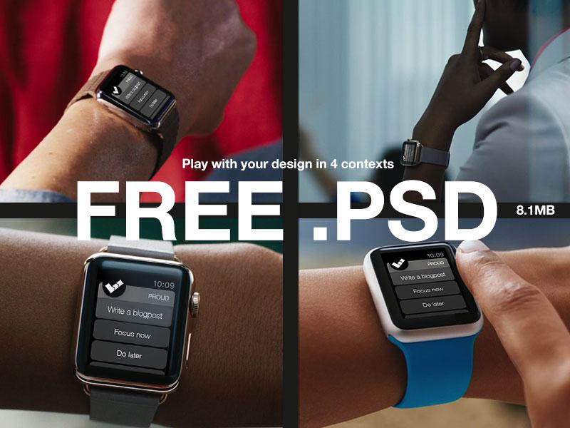 Free .PSD - 4x  WATCH Mockups applewatch mockups psd free uix ui productivity proud productive app download downloadable