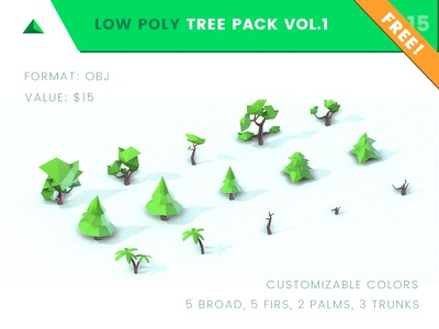 FREE Low Poly Tree Pack Vol. 1 3dmodeling gamedev poly lowpoly polygon art tool obj software modeling polydust free