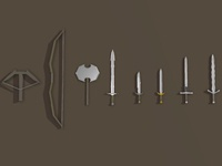 FREE 3D Lowpoly Weapons Asset Pack lowpolygon lowpolyart lowpoly game game art unity3d package free model ios ipad 3d art 3d poludust
