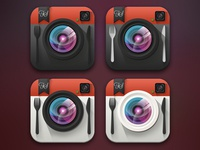 Flat FoodShootr Icon Concepts for iOS 7
