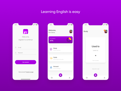 F! - learn English is easy mobile home bars gradient cards ui user dashboad tabs progressbar language school cards platform learning app lettering type figma design ui  ux design ui ux