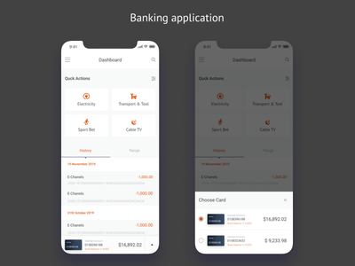 Mobile Banking application type design ui ui  ux design transaction history iphonex tab cards pop-up tabs mobile app selector banking app bankingapp dashboad