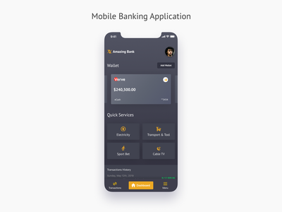 Concept of Banking application bankingapp banking user mobile ui data statistic features actions quick transaction dark app dark theme ui cards dashboad