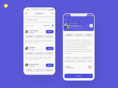 Mobile platform design for freelance specialist search platform minimalistic ui ux application design ux design recruiting human resource hiring ios app android app design mobile mobile platform