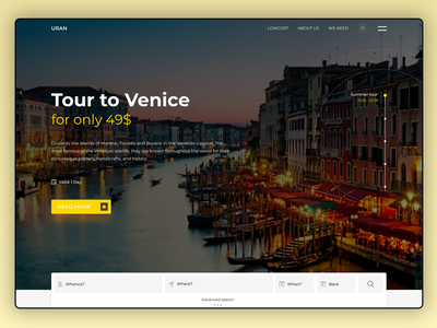 Uran Travel lettering branding website typography web-design web ux ui  ux design ui type figma design awards