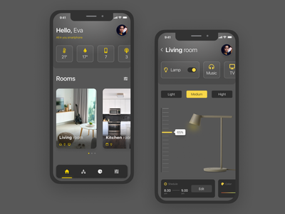 Smart House online yellow iphone x tabs slider navigation bar dark app controls smart home dark ui light smarthouse smart design ux ui
