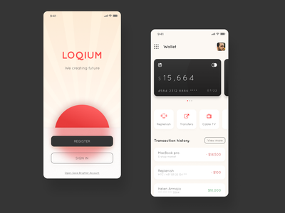 Loqium Bank App statistics transaction money app dashboad wallet cards bank app banking