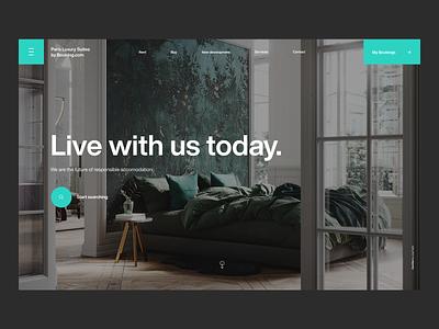 Booking.com Luxury Suites Landing page minimalism web search header ux ui sharp green flat minimal helvetica typography website design