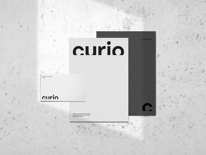 Curio Branding pure flat white and black clean brand and identity vector logo a day typo logo logo design logotype print logo minimal type minimalism identity corporate identity typography branding design