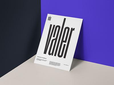 Valer Brand digital layout poster mock up vector print flat logo minimal minimalism type identity corporate identity typography branding design