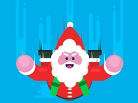 Santa Claus Flying with Parachute