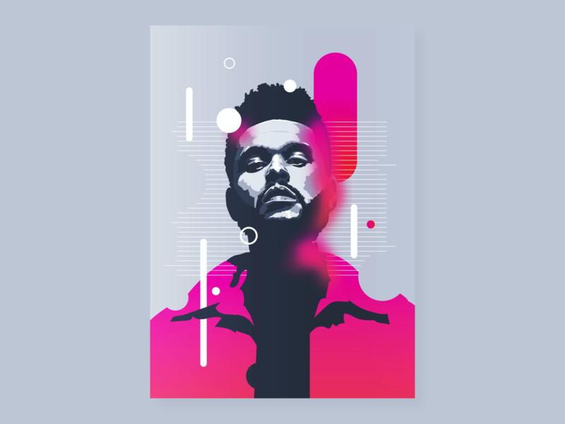 The Weeknd   Digital Portrait the weeknd vector illustration design theweeknd poster gradient draw digital art digitalart portrait