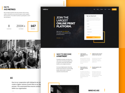 Helloprint | Onboarding Landing Page white yellow black page landing ux ui onboarding join helloprint