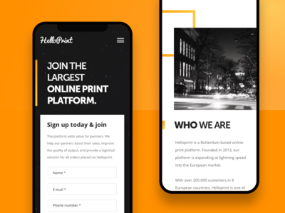 Helloprint | Onboarding Landing Page | Mobile white yellow black page landing ux ui onboarding join helloprint