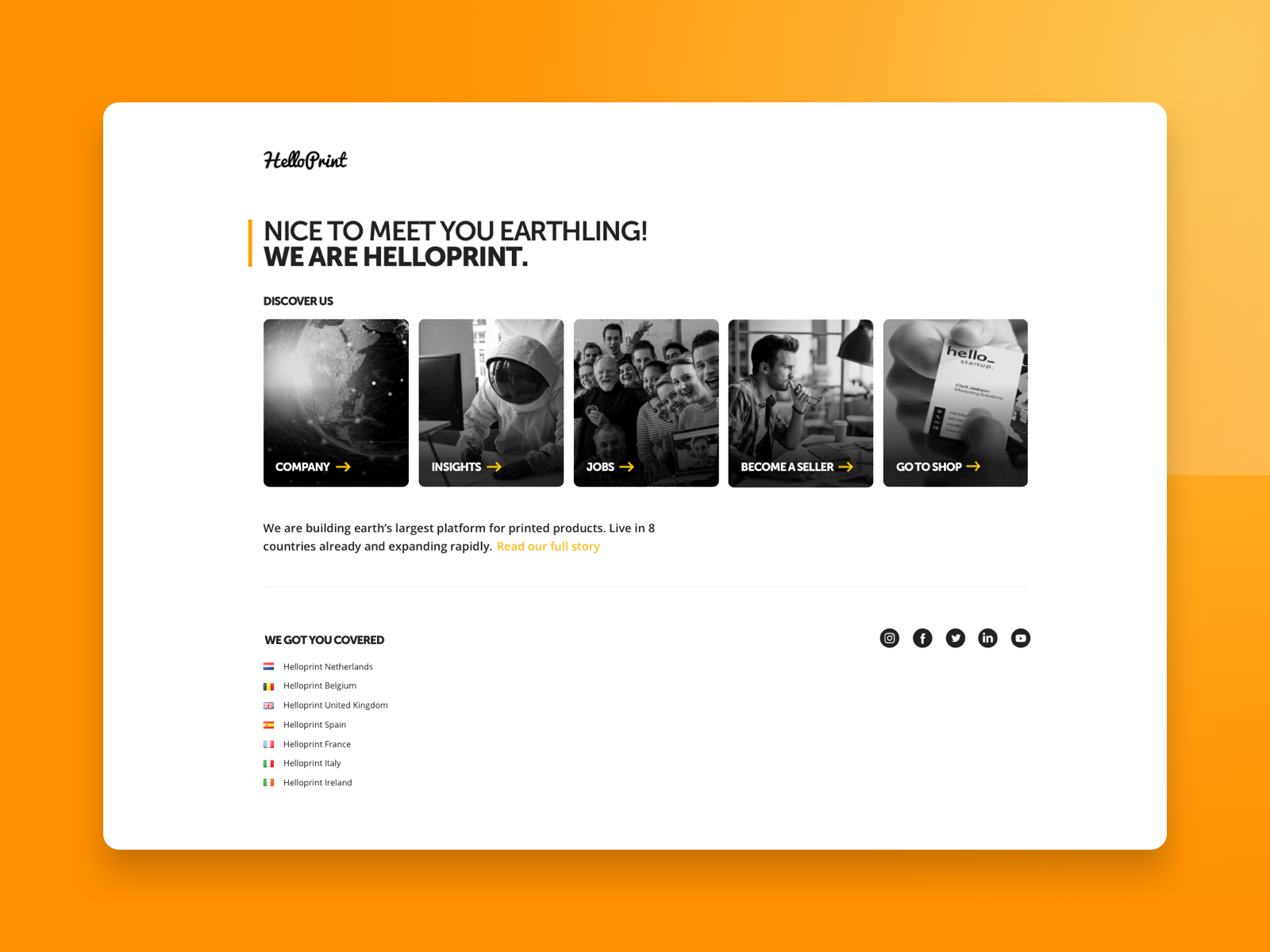 Helloprint | Startpage start startpage nice to meet you hello helloprint landingpage homepage home landing discover us sketch