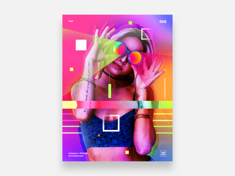 Eig8t reflection glass woman shapes lines lined square gradient burst colors color abstract posterdesign poster sketch
