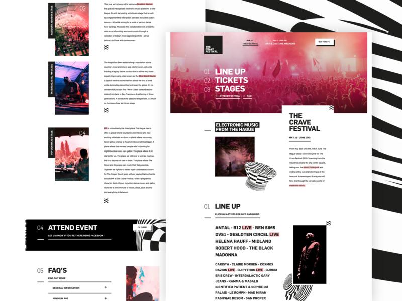 The Crave Festival — Homepage ux ui  ux ui uiux gradient pink ticketshop ticket shapes abstact blackwhite landingpage landing homepage home sketch
