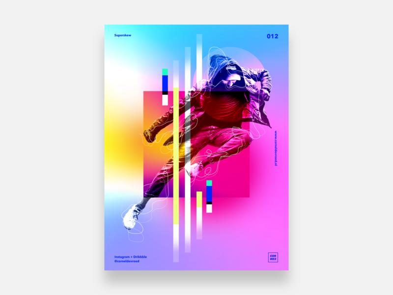 012 - Superskew colorful colors color skew jump design concept vector illustration poster gradient