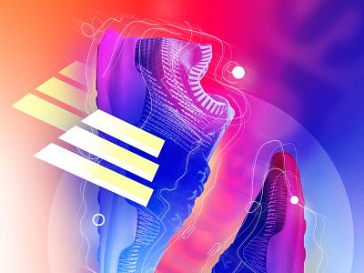 014 - Wings - Details lines abstract gradient sneaker sneakers adidas poster wings details sketch