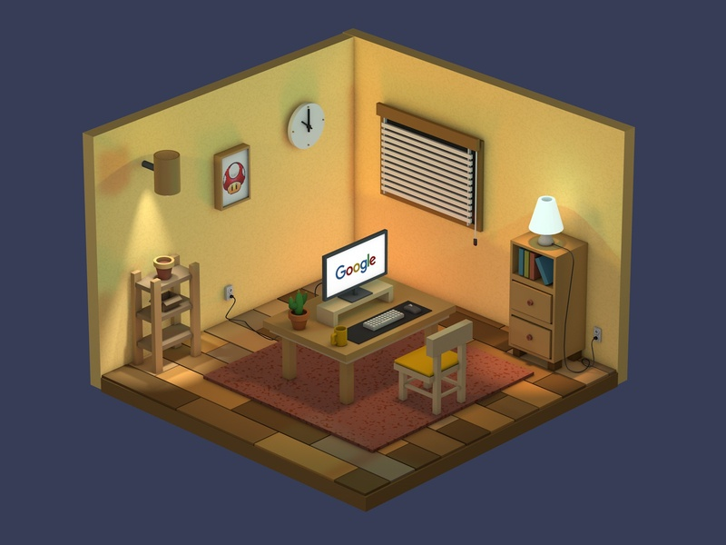 Isometric Room Art 3d illustration mario design google design google stay home work desk room illustration isometric illustration isometric design isometric art isometric isometry c4d cinema 4d cinema4d room