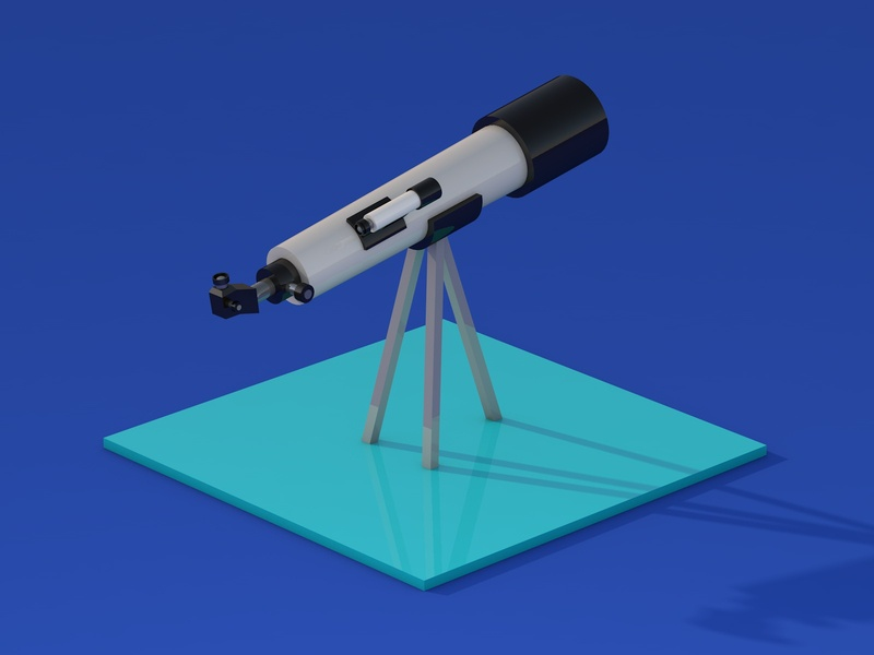 Telescope sky 3d illustration 3d art icon cartoon cute design isometric illustration isometric design isometric blue moon planets stars c4d cinema4d 3d illustration design illustrations telescope
