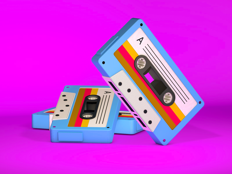 Cassette tape music purple pink colorful render c4d cinema4d 3d ilustration 3d artwork 3d artist 3d art 3d isometric illustration isometric design isometric art isometric cassettes cassette player cassette tape cassette