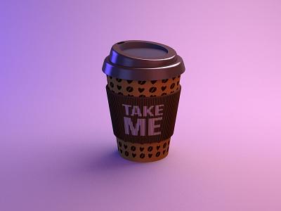 Takeaway Coffee Cup c4dart c4d taste drink takeaway coffee logo coffee illustration coffee cup coffee pattern branding realistic mockup realistic 3d real rendered illustration cinema 4d rendering render 3d render