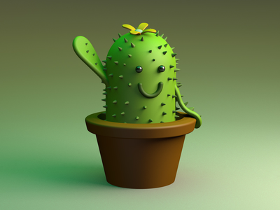 Cute Cactus modeling realistic 3d realistic real illustration c4d cinema4d smiley smile hello flower plant illustration plant cute illustration green character design character simple cute cactus