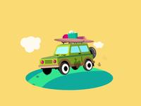 The Jeep Road Trip illustration vacation illustration vacations vacation animation vacation bounce bumpy car animation car gif loop cartoon fun 2danimation 2d animation trip roadtrip road jeep