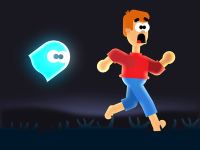 Scary Moments halloween animation horror scared love wood running ghost character funny design 2d animation 2d spooky scary animation scary halloween 2021 halloween motion graphics motion animation
