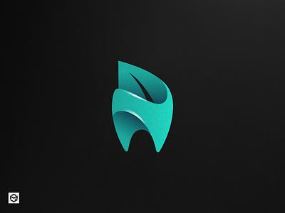 Herba Dent logo idea abstract tooth leaf blue simple graphic logo dental herba